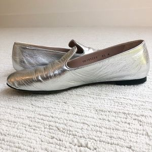 Stuart Weitzman   Leather Loafers   Silver   8.5
